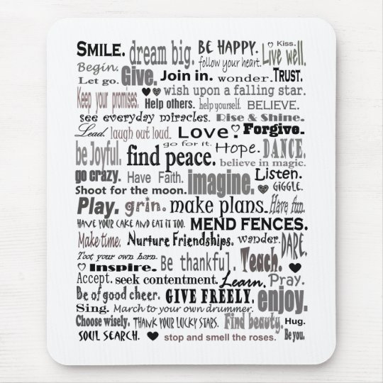 Inspire word art collage mouse mat