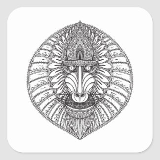 Inspired Baboon Face Square Sticker