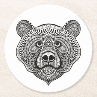 Inspired Bear Face Round Paper Coaster