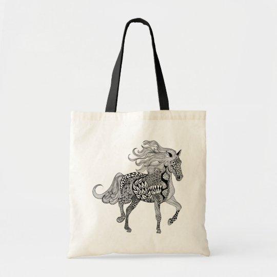 Inspired Black Horse Tote Bag