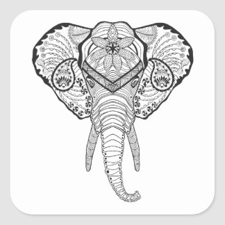 Inspired Elphant Head Square Sticker