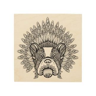 Inspired French Bulldog In War Bonnet 5 Wood Wall Art