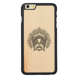 Inspired French Bulldog In War Bonnet Carved Maple iPhone 6 Plus Case