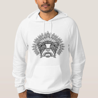 Inspired French Bulldog In War Bonnet Hoodie