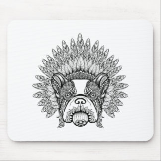 Inspired French Bulldog In War Bonnet Mouse Mat