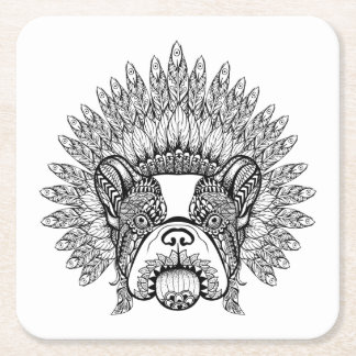 Inspired French Bulldog In War Bonnet Square Paper Coaster
