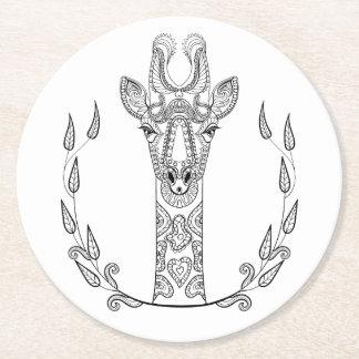 Inspired Giraffe Round Paper Coaster