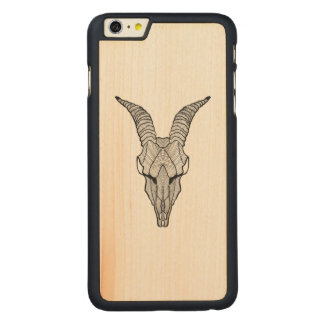 Inspired Goat Skull Carved Maple iPhone 6 Plus Case
