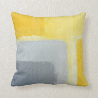 'Inspired' Grey and Yellow Abstract Art Cushion