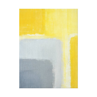'Inspired' Grey and Yellow Abstract Art Stretched Canvas Prints