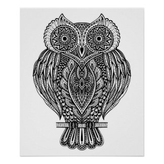 Inspired Hand Drawn Ornate Owl 2 Poster