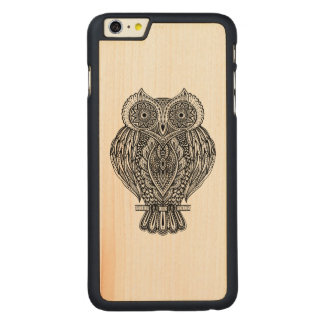 Inspired Hand Drawn Ornate Owl Carved Maple iPhone 6 Plus Case