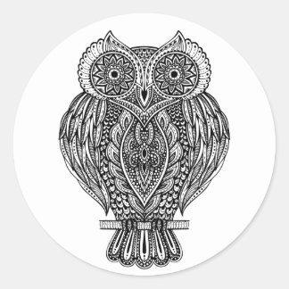 Inspired Hand Drawn Ornate Owl Classic Round Sticker