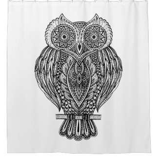 Inspired Hand Drawn Ornate Owl Shower Curtain
