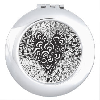 Inspired Heart Doodle Travel Mirror