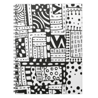 Inspired Indian Abstract Figures Spiral Notebook