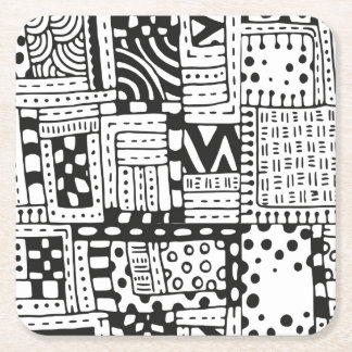 Inspired Indian Abstract Figures Square Paper Coaster