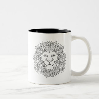 Inspired Lion Head 3 Two-Tone Coffee Mug