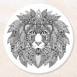 Inspired Lion Head 4 Round Paper Coaster