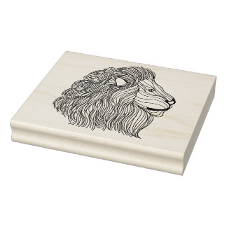 Inspired Lion Head 5 Rubber Stamp