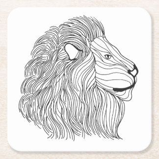 Inspired Lion Head 5 Square Paper Coaster