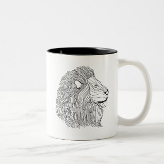 Inspired Lion Head 5 Two-Tone Coffee Mug
