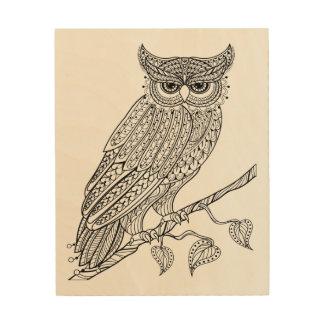 Inspired Magic Owl Sitting On Branch 5 Wood Wall Art