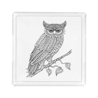 Inspired Magic Owl Sitting On Branch Acrylic Tray