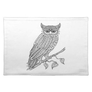 Inspired Magic Owl Sitting On Branch Place Mats