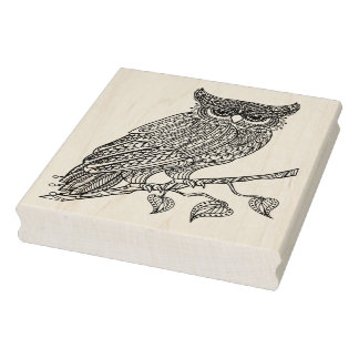 Inspired Magic Owl Sitting On Branch Rubber Stamp