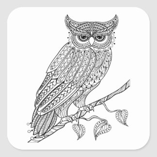 Inspired Magic Owl Sitting On Branch Square Sticker