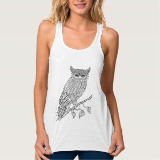 Inspired Magic Owl Sitting On Branch Tank Top