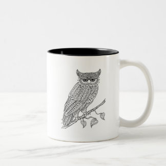 Inspired Magic Owl Sitting On Branch Two-Tone Coffee Mug