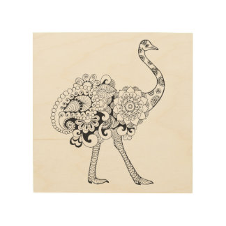 Inspired Ostrich 5 Wood Print