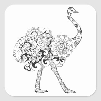 Inspired Ostrich Square Sticker