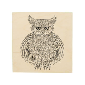 Inspired Owl Bird Totem 5 Wood Print