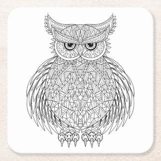 Inspired Owl Bird Totem Square Paper Coaster