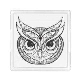 Inspired Owl With Tribal Ornaments Acrylic Tray