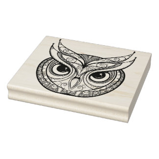 Inspired Owl With Tribal Ornaments Rubber Stamp