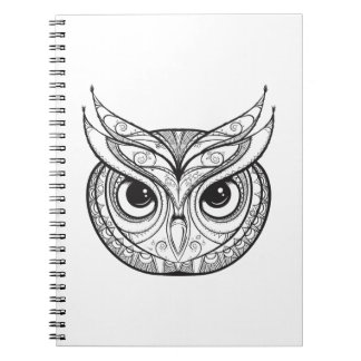 Inspired Owl With Tribal Ornaments Spiral Notebook