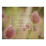 Inspired Pink Floral with Rumi Quote Poster