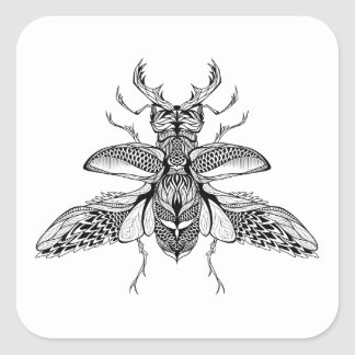 Inspired Psychedelic Stag-Beetle Square Sticker