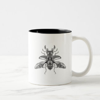 Inspired Psychedelic Stag-Beetle Two-Tone Coffee Mug