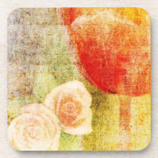 Inspired Red Tulip and Roses Drink Coasters
