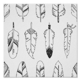 Inspired Retro Feather Pattern 2 Poster