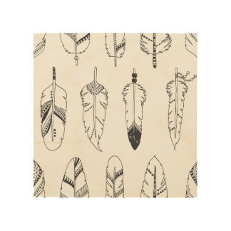 Inspired Retro Feather Pattern 5 Wood Canvases