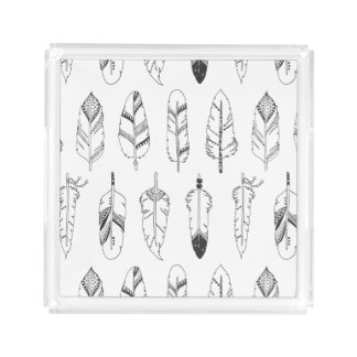 Inspired Retro Feather Pattern Acrylic Tray