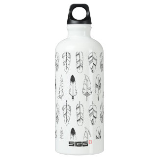 Inspired Retro Feather Pattern Water Bottle