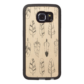 Inspired Retro Feather Pattern Wood Phone Case