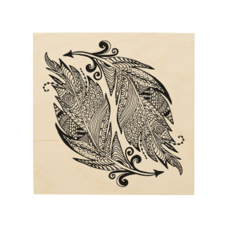 Inspired Sketch Of Feathers 5 Wood Wall Art